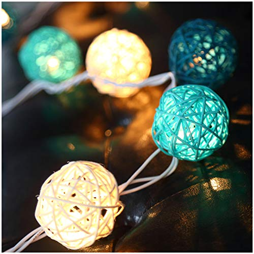 Battery Handmade Rattan Ball String Lights,11.5ft 20 Warm White LED Christmas Indoor Fairy Lights for Shop Store Showcase Cafe Bar [Timer,8 Mode,Rattan Ball's Diameter:2.04 in ]-Lake Green,Clear Cable ()