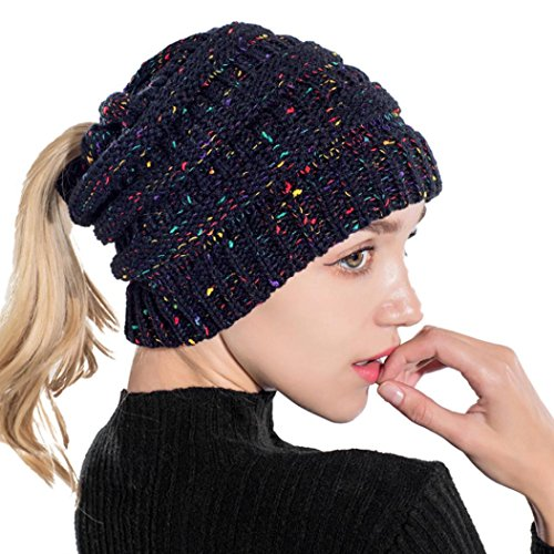 Vertily Hat Women's Wool Ponytail Baggy Warm Crochet Winter Beanie Skull Slouchy (Blue) -