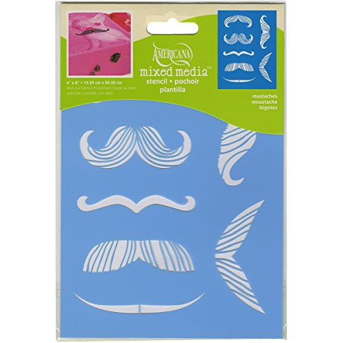 DecoArt Americana Mixed Media Stencil, 6 by 8-Inch, - Mustaches Guide To