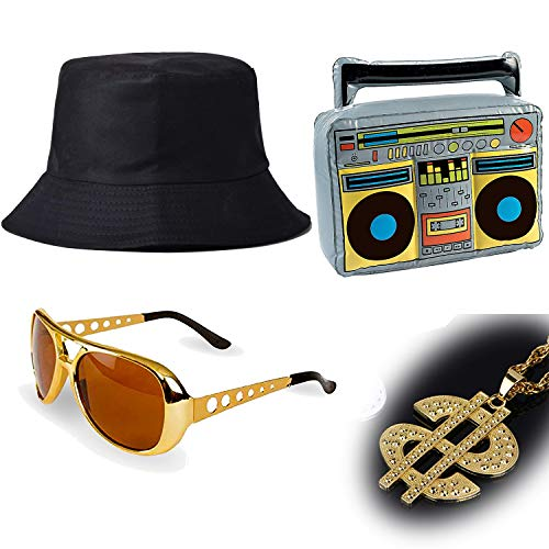 ZeroShop 80s/90s Hip Hop Costume Kit - Cotton Bucket Hat,Gold Chain Beads,Oversized Rectangular Hip Hop Nerdy Lens Sunglasses (OneSize, -