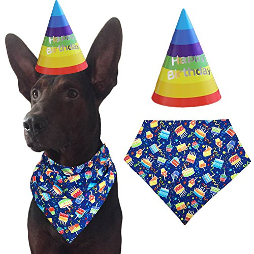 MIAPETTBTB Dog Birthday Bandana Triangle Bibs Scarf Accessories with Hat for Pets Animals - -
