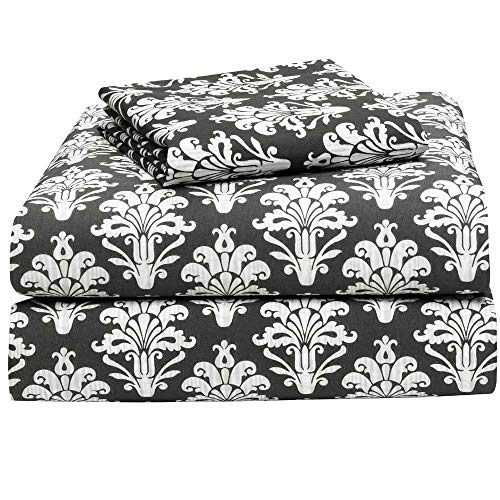 OCM Victoria Damask Cotton Blend 3-Piece Twin XL Sheet Set for College Dorm Residence Hall Extra Large Twin Bed