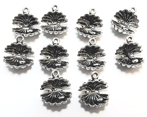 Gold Oyster Shell Charm (Set of Twenty (20) Silver Tone Pewter Oyster Shell Charms)