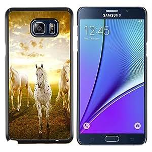 LECELL--Funda protectora / Cubierta / Piel For Samsung Galaxy Note 5 5th N9200 -- Nubes Caballos Naturaleza Sunset Mustang --