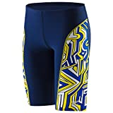 Speedo Big Boys' Boy's Conquers All Jammer Swimsuit, Navy/Gold, 22