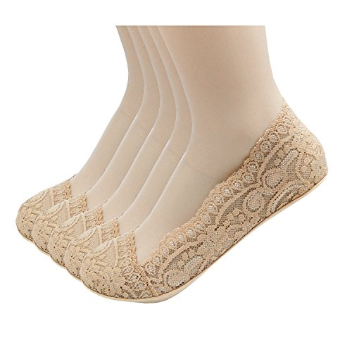 Low Cut Boat Socks No Shown Anti Slip Lace Fashion Basic Fake Socks Flat Shoes Beige 3 Pairs