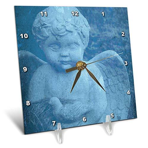 (3dRose Cassie Peters Photography - Blue Cherub - 6x6 Desk Clock (dc_287087_1) )