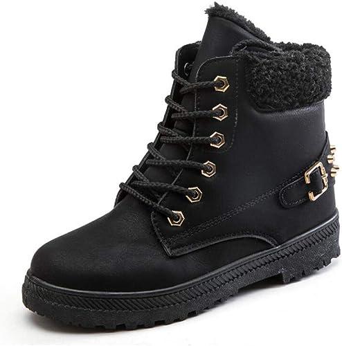 Women Winter Warm Snow Booties Zipper Fluffy Fur Lined Non-Slip Ankle Boots Shoe