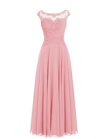 ba2dd6bad3261f Dresstells Damen Lange Chiffon Ballkleider Brautjungfernkleider  Abendkleider Blush Größe 34