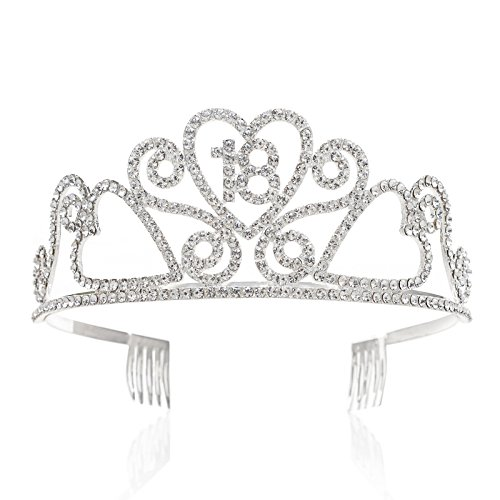 SWEETV Rhinestone Tiara Birthday Crown Princess Party Hat Hair Accessories 15/16/18/21/30/40/50/60/70th Birthday Gift, 18th]()