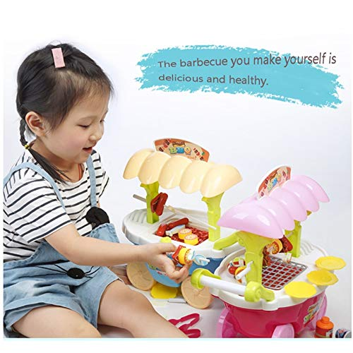 BJLWTQ Children's Simulation Supermarket Shopping Cart Trolley Barbecue Machine Girl Child Pretend Play Toy, Blue and Pink (Color : Pink) by BJLWTQ Toddlers kids toys (Image #5)