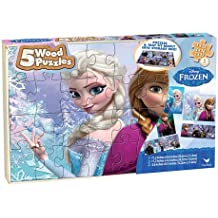 Frozen Disney 5 Wood Puzzles In Wooden Storage Box (styles will vary)