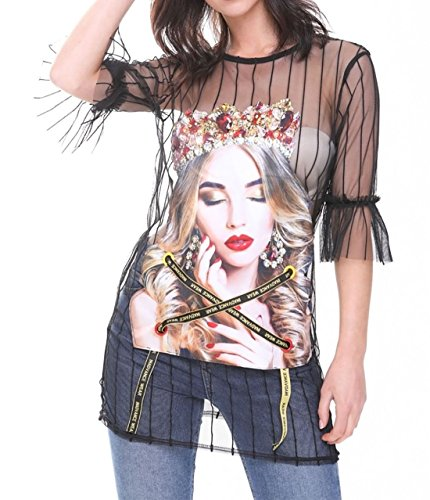 Studs Sheer S 21FASHION Crown Womens L Party Black 8 with Dress UK Girl Top Ladies Mesh Detail Applique 14 ggBSq1x8