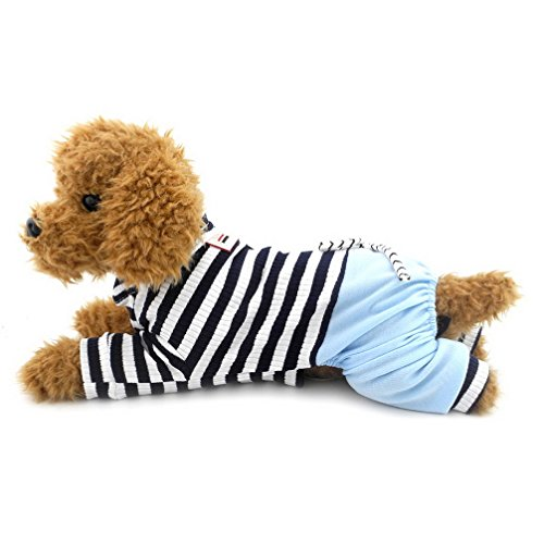 Ranphy Small Dog Stripe Jumpsuit Puppy Pajamas with Pant Comfy Cotton Pet Clothes Cat Apparel Pyjamas PJS Shirt Boys Winter Jammies Blue Size S