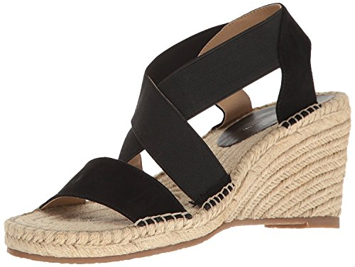 ADRIENNE VITTADINI Footwear Women's Charlene Espadrille Wedge Sandal, Black, 9 M US (Adrienne Vittadini Wedge Shoes)