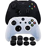 xbox controller board - MXRC Silicone rubber cover skin case anti-slip STUDDED Customize for Xbox One/S/X controller x 2(black & white) + FPS PRO extra height thumb grips x 8