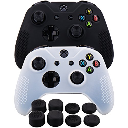 - MXRC Silicone rubber cover skin case anti-slip STUDDED Customize for Xbox One/S/X controller x 2(black & white) + FPS PRO extra height thumb grips x 8