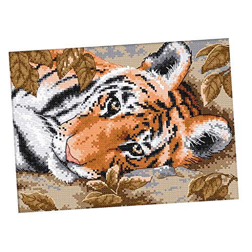 - Baosity Stamped Cross Stitch Kit Pre-Printed Tiger Pattern Embroidery - 14CT 29 x 21cm