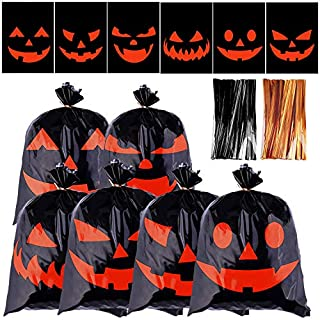 URATOT 120 Pieces Halloween Candy Bags Snack Bags Plastic Trick or Treat Candy Bags Halloween Pumpkin Candy Snack Bags with Twist Ties for Halloween Party Supplies