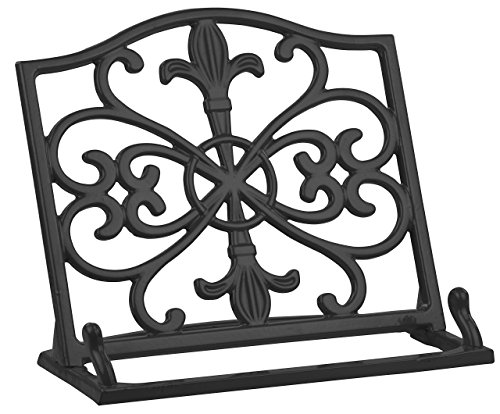 - Home Basics Cast Iron Fleur De Lis Cookbook Stand, Black