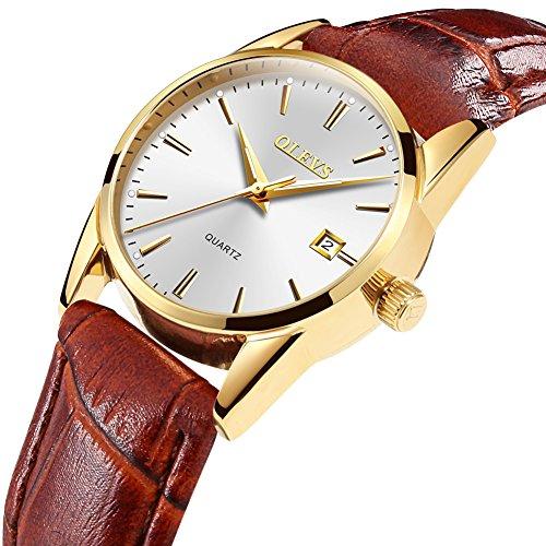 Kingston Brown Leather - OLEVS Simple Women Quartz Watches Top Brand Gold Case Luxury Men Wristwatch Leather Strap Male Clock Luminous Hands Ladies Watch (Women-Brown Leather)