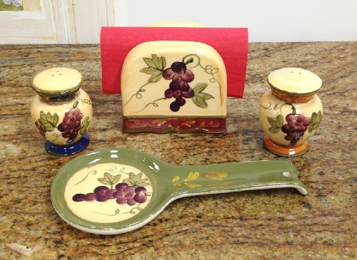 Tuscany Colorful Grapes Hand Painted Table Top set, 84025/28 by (Hand Painted Salt Shaker)
