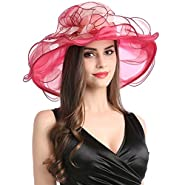Womens Organza Church Summer Wide Brim Kentucky Derby Tea Party Wedding Hats