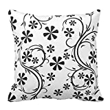 Floral Design Black and White Flower Pattern Zippered Pillow Cases Cover Cushion Case Square Fashion Decorative, 16X16 Inch