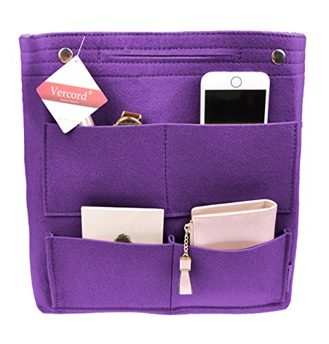 Vercord Long Felt Handbag organizer,Felt Insert Purse Organizer Bag in Bag 17 Pockets Structure Shaper, Purple by Vercord