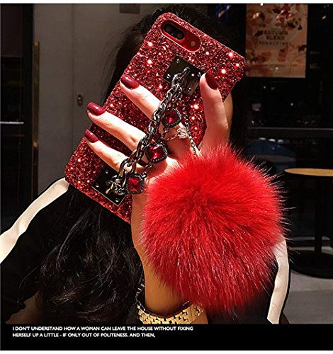 Twinlight for iPhone X Case Glitter Luxury Bling Diamond Gem Bracelet Chain Tassel Fox Fur Ball Cover for Coque iPhone X Accessories Cover (D, for iPhone X XS)