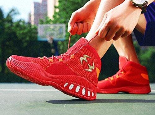 Jiye Mens Prestanda Basketskor Vävning Andas Mode Sneakers Med Röd
