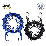 H&HODOR Retractable Travel Clothesline Outdoor Windproof Laundry Rope Anti-Skid Clothespin Clothing Line 2 Pack Camping Household Drying Racks With 12pcs Hangers Clip