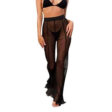 bb5cd927b7993c GoodLock Womens Sexy High Waist Pants Beach Mesh Sheer Bikini Cover up  Swimwear Transparent Trousers (