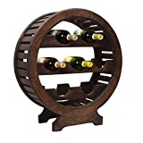 Vintage Style Wooden Wine Rack Stand 7 Bottle Holder with Dark Chestnut Finish Home Bar Organizer Decor