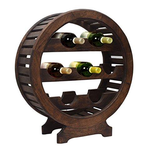 Vintage Style Wooden Wine Rack Stand 7 Bottle Holder with Dark Chestnut Finish Home Bar Organizer Decor by Store Indya