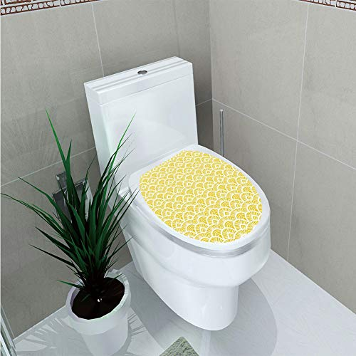 Toilet Sticker 3D Print Design,Yellow,Ethnic Vintage Hand Drawn Shaded Oriental Patterns Chic Geometric Lines Motifs Home Decorative,Cream Yellow,for Young Mens,W12.6