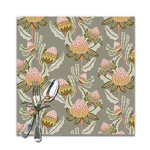 Scarlett Life Hall Protea Green Imperial FlowerDecorative Polyester Placemats Set of 6 Printed Square Plate Cushion Kitchen Table Heat-Resistant Washable Dining Room Family Children