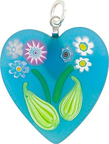 Aqua Millefiori Murano Glass Heart Pendant w/Bouquet Floral Pattern Glued - Murano Millefiori Heart