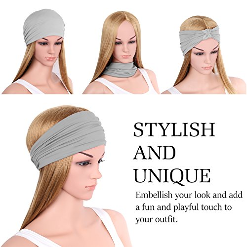 Versatile Lightweight Sports Headband, MoKo Breathable Moisture Wicking Multi-use Headwear, Soft Stretchy Knotted Hair Band Turban Head Wrap, for Workout, Running, Yoga, Fitness, Casual - Light Gray