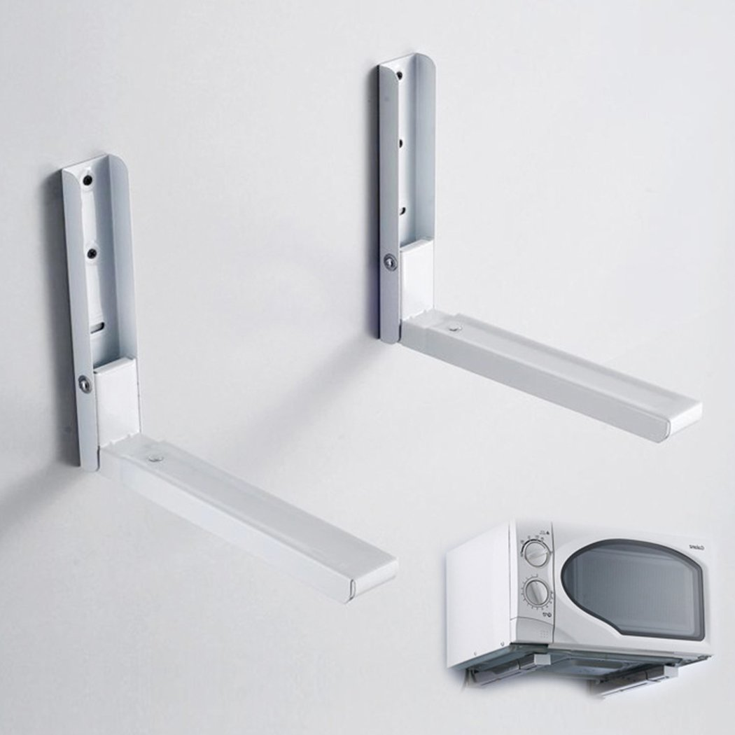 Ceanfly 2PCS Foldable Microwave Shelf Rack Sturdy Kitchen Microwave Oven Wall Mount Bracket Arms (UK STOCK)