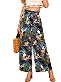 Milumia Women Belted Frilled Waist Tropical Print Boho Wide Leg Palazzo Pants Multicolour M