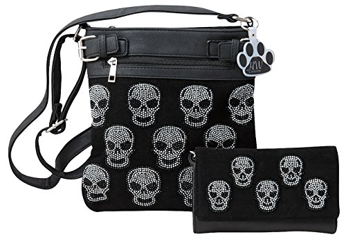 HW Black and Handbag Collection Crossbody Carry Wallet Rhinestone Western Studded Concealed Skulls wpnxqwZ4r