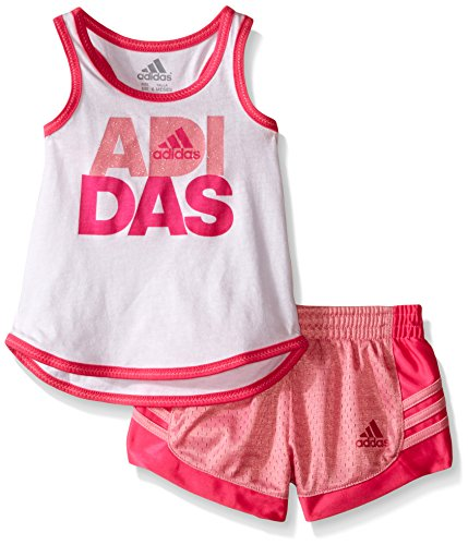 adidas Baby Girls' Top and Short Set, White, 6 Months