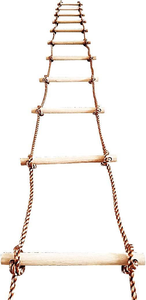 ISOP Tree Climbing Rope Ladder for Kids 16ft (5m) or Adults - Outdoor/Indoor Swing Set Accessories - Playground Equipment - Suitable for Attic Garden or Wall Painting