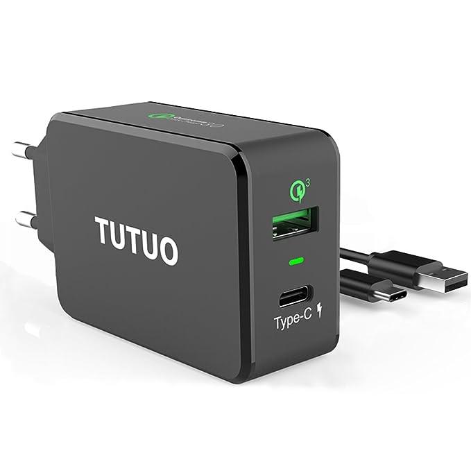14 opinioni per TUTUO USB C Caricabatterie + Quick Charge 3.0 33W 2 Porte Type C Caricatore da