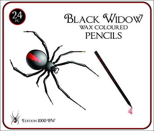 HOLIDAY DEALS Black Widow Colored Pencils for Adults, the Best Color Pencil Set for Adult Coloring Books, A Quality 24 Piece Blackwood Drawing Kit Available to Use. New Black Widow Edition