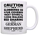 Dog Lover Gifts for Women Crazy German Shepherd Lady Dog Mom Gift Coffee Mug Tea Cup White