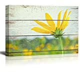Wall26 - Bright Yellow Flower on Farm - Rustic Floral Arrangements - Pastels Colorful Beautiful - Wood Grain Antique - Canvas Art Home Decor - 24x36 inches