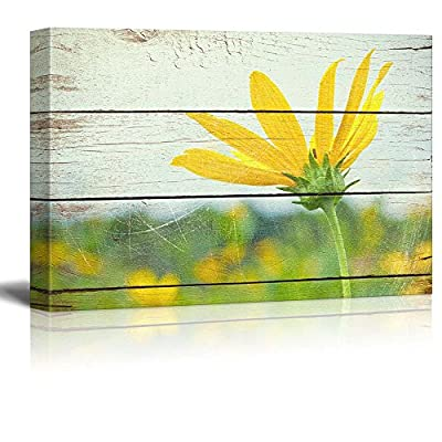 Classic Design, Grand Technique, Bright Yellow Flower on Farm Rustic Floral Arrangements Pastels Colorful Beautiful Wood Grain Antique