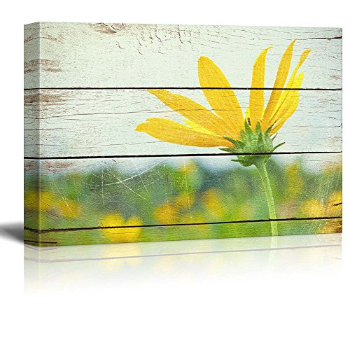 Bright Yellow Flower on Farm Rustic Floral Arrangements Pastels Colorful Beautiful Wood Grain Antique